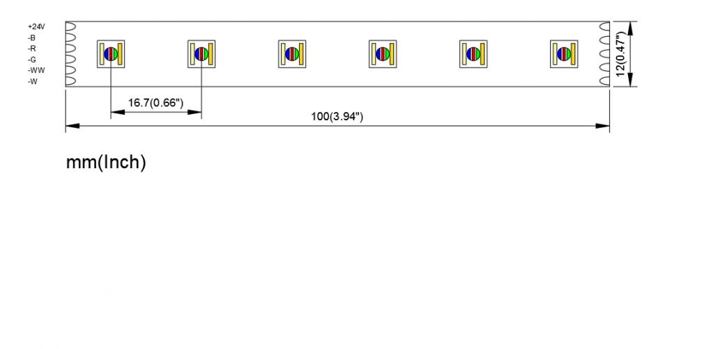 5050 60LED RGBW CCT 12mm PCB