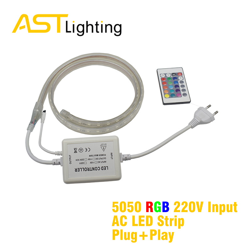 RGB bright white color 2835 5050 220vac led strip china factory