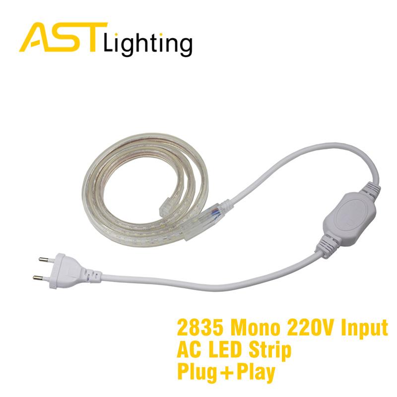 mono bright white color 2835 5050 220vac led strip china factory