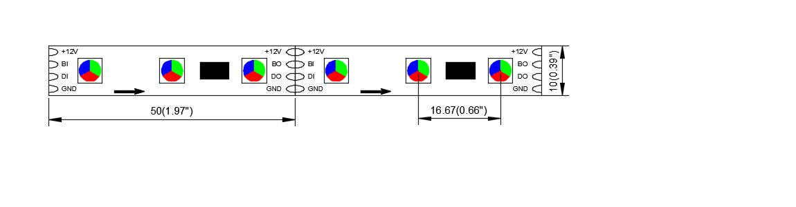 DS GS8206 60 12 10 dream color led strip china factory dynamic color 5050 led strip IC STRIP 3
