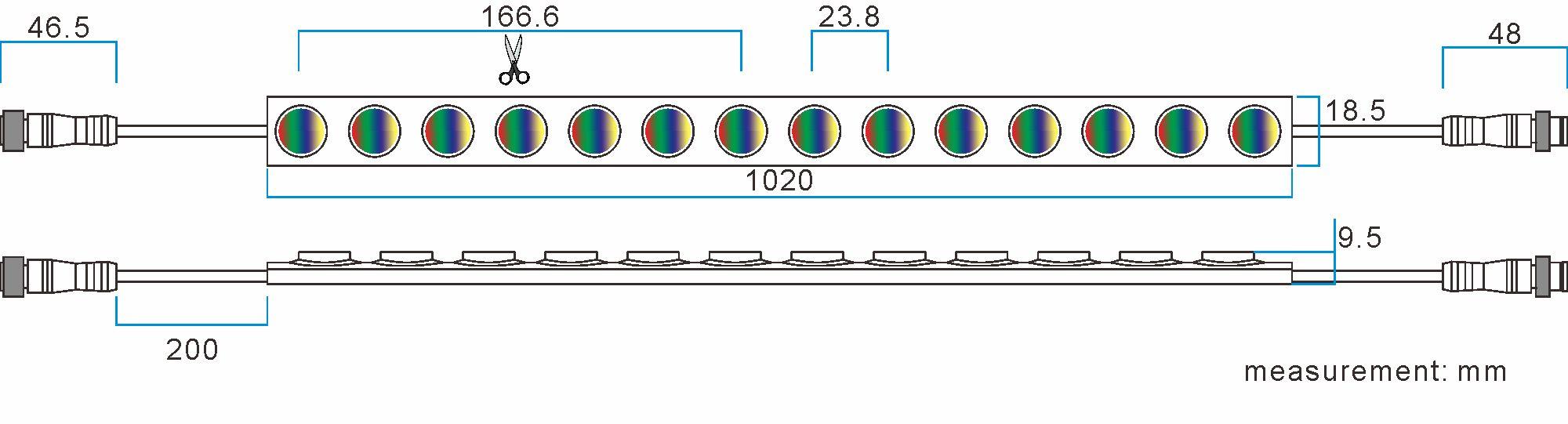 WLRGBW dimension drawing 5050 LEDRGBW flexible wall washer light TPU material IP67 waterproof LED strip