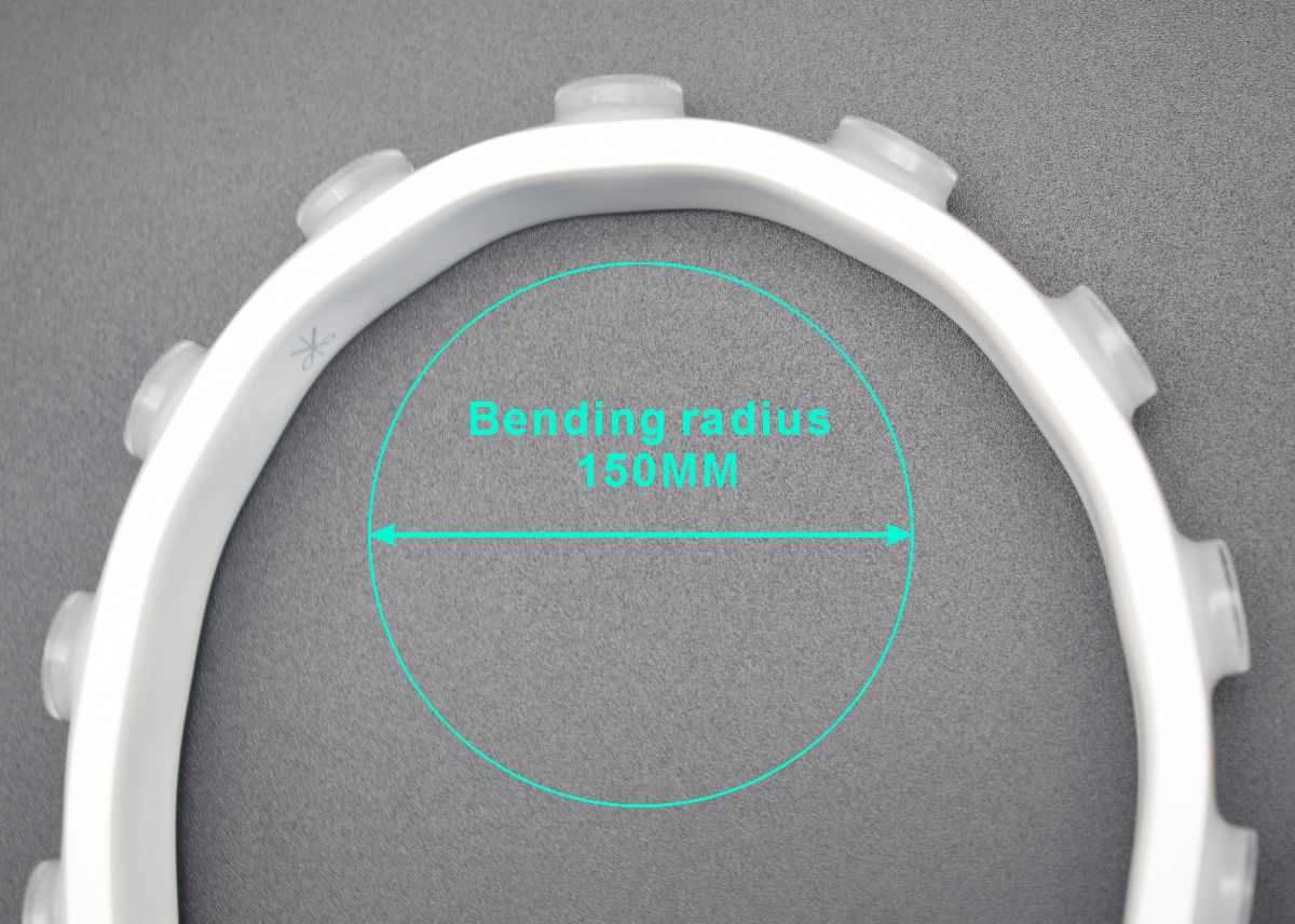 WLX512 bending radius drawing 5050 LED RGB DMX512 dream color pixel addressable flexible wall washer light TPU material IP67 waterproof LED strip