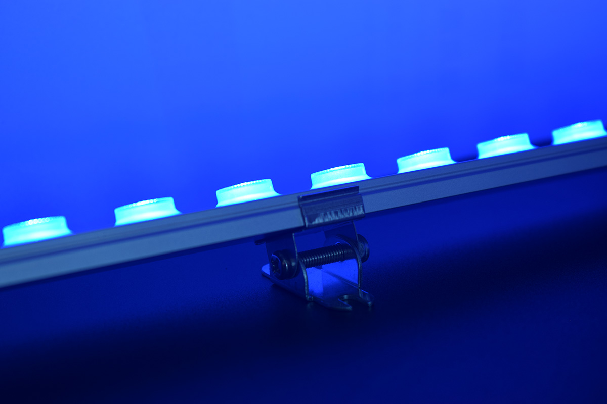 blue color linear wall washer lighting