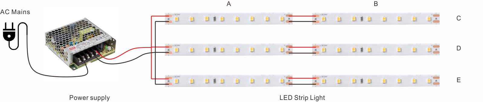 wiring installation guide of LED strip light for serial parallel circuit